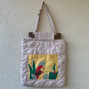 Vintage Quilted Cotton Tropical Toucan Bag